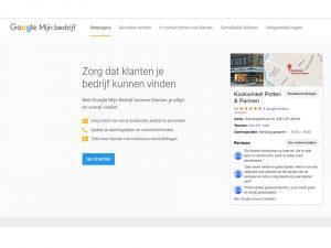 Screenshot startpagina Google Mijn bedrijf