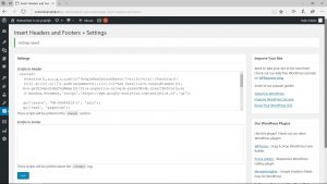 Screenshot van de Google Analytics tracking code in WordPress